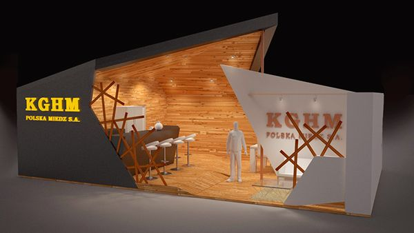 "[Use of natural and raw materials juxtaposed with modern, overly bold lines and materials is TRENDING.  -area]  /  Concept Art - Exhibition Stand ""KGHM"" by Deborah Nicole, via Behance"