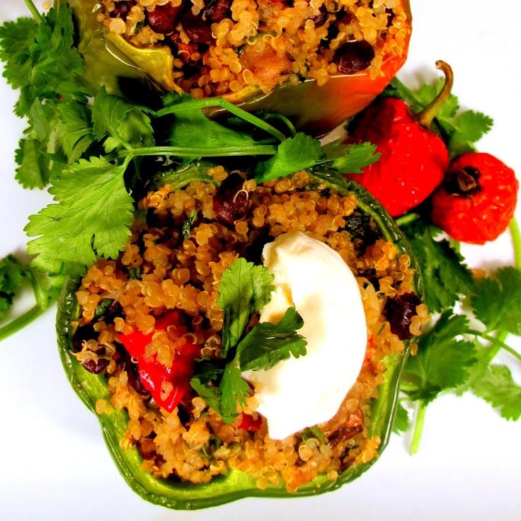 Quinoa Bean-Stuffed Bell Peppers. @ABachelor