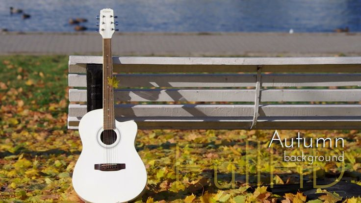 "White Guitar in Autumn City Park From ""Autumn"" photo and video collection by @ci"