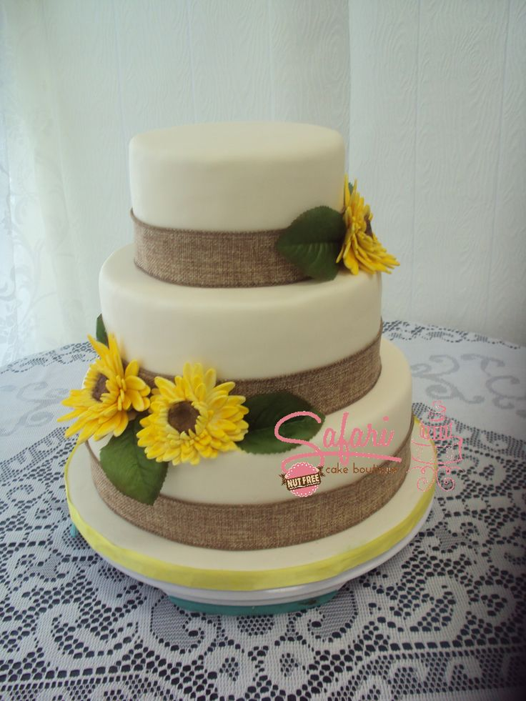 3 tier Rustic Wedding Cake covered in fondant