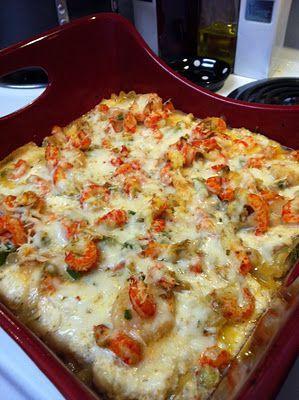 cajun lasagna with crawfish and shrimp