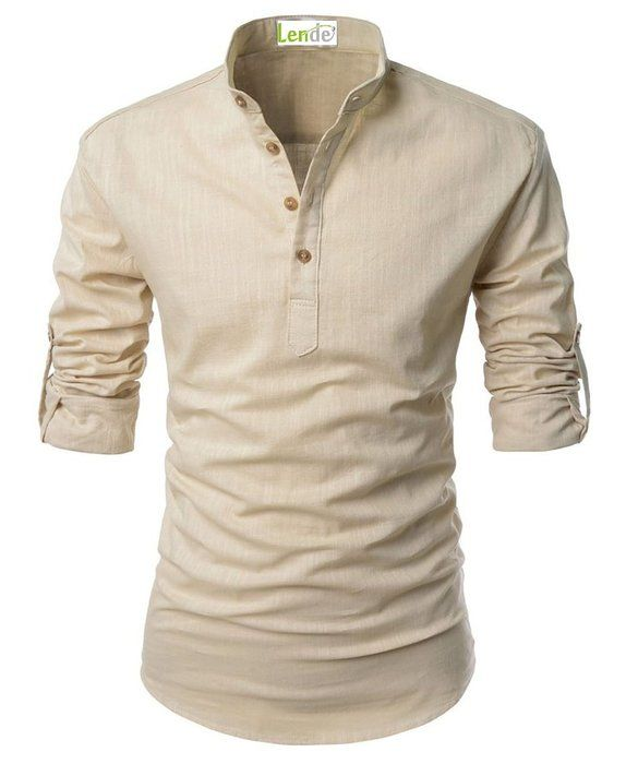 Lende Beloved Men Henley Neck Rollup Sleeve Daily Look Linen Shirts Tank Tops
