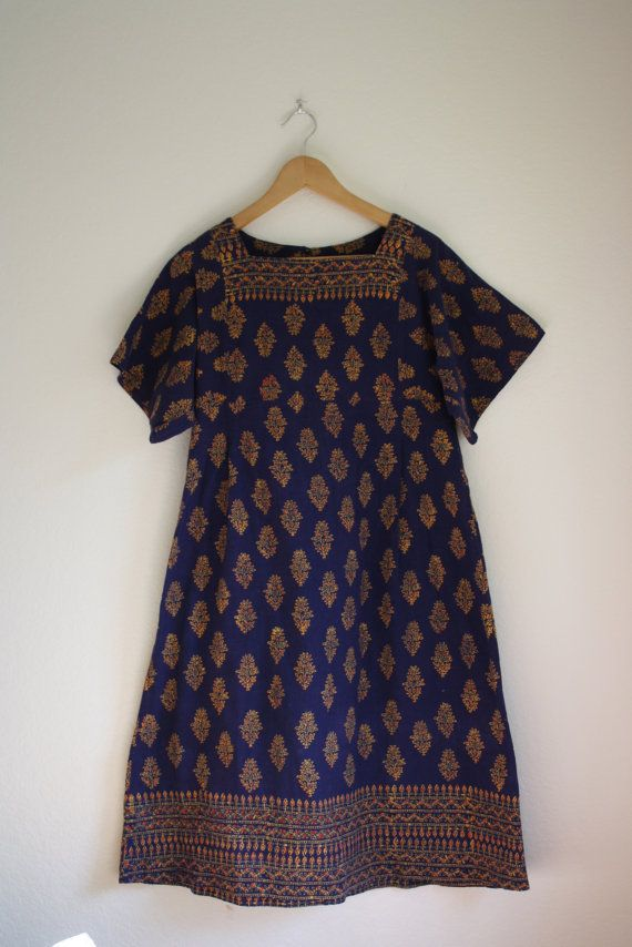 vintage ethnic indian batik dress by acupfullofsunshine on Etsy, $38.00