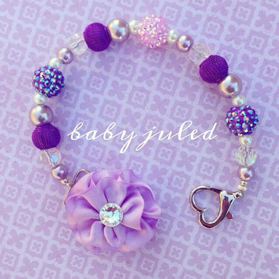 Purple Beaded Pacifier Clip by BabyJuled on Etsy, $22.00