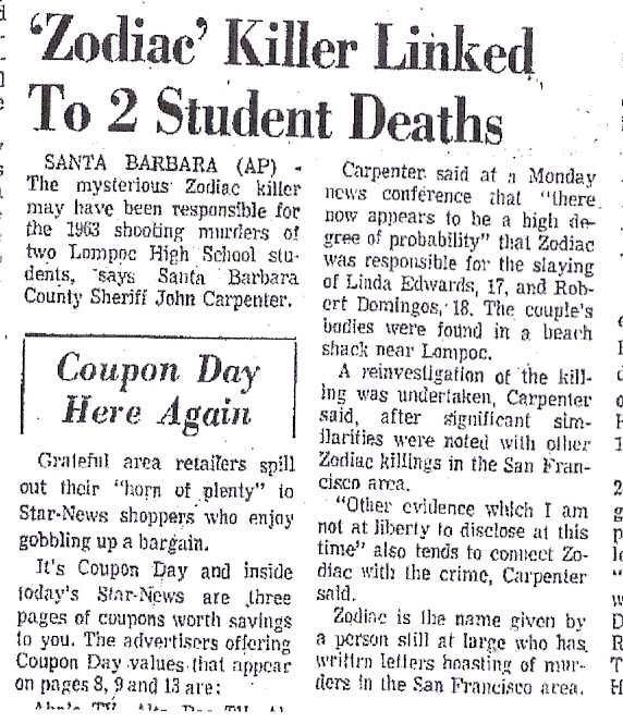newspaper about zodiac killer real horror zodiac