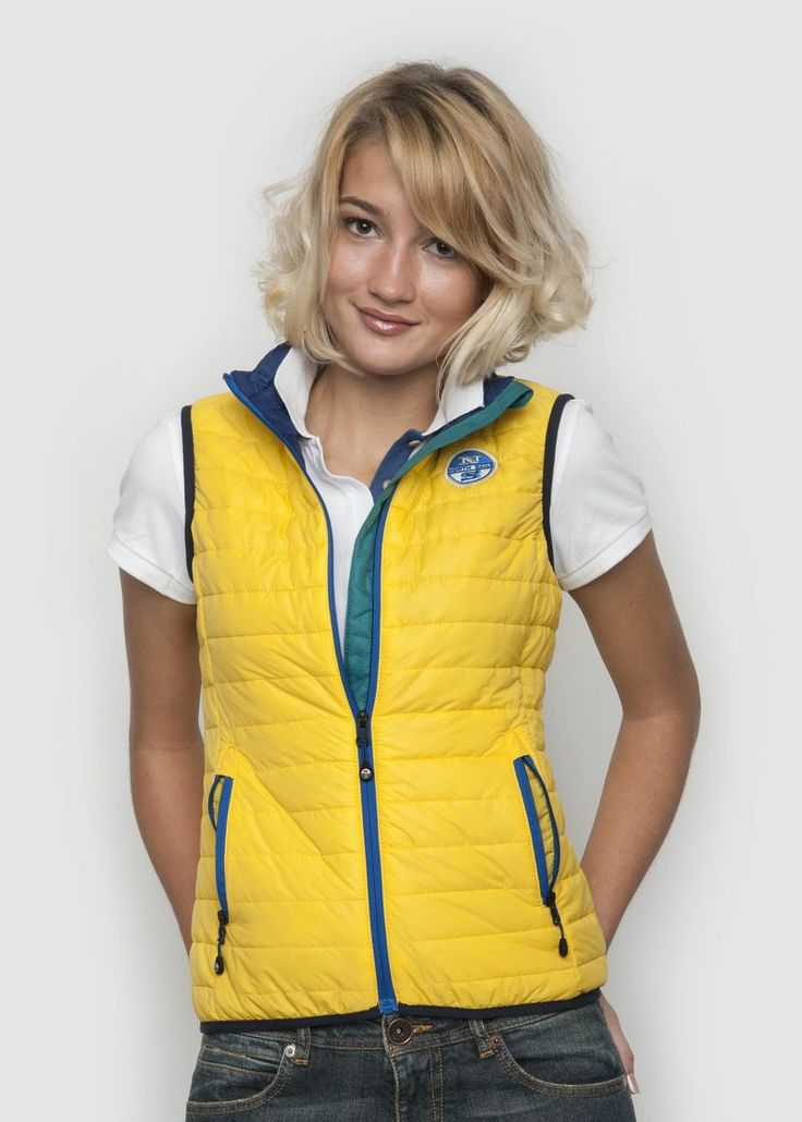 #NothSails #collection #Spring #Summer #2014 #Woman #Jacket #Gilet #Allie #Vest #Yellow #waistcoat #Polyamid #nylon #zip #fullzip #waistocat #colour #contrasts #windflap and #inner #smanicato #giubbino #collezione #donna #Primavera #Estate