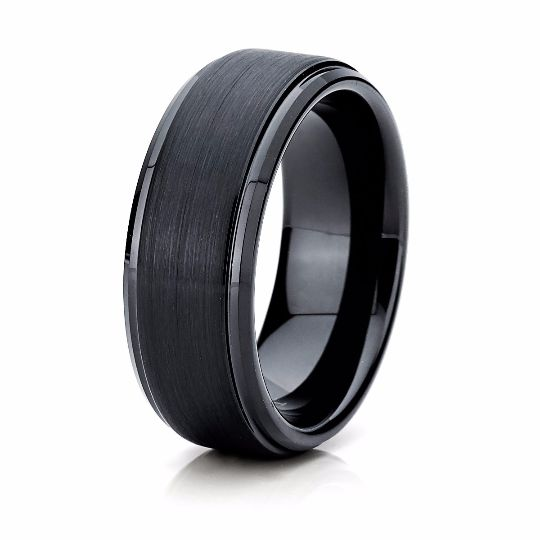 8mm Brushed Black Tungsten Wedding Band