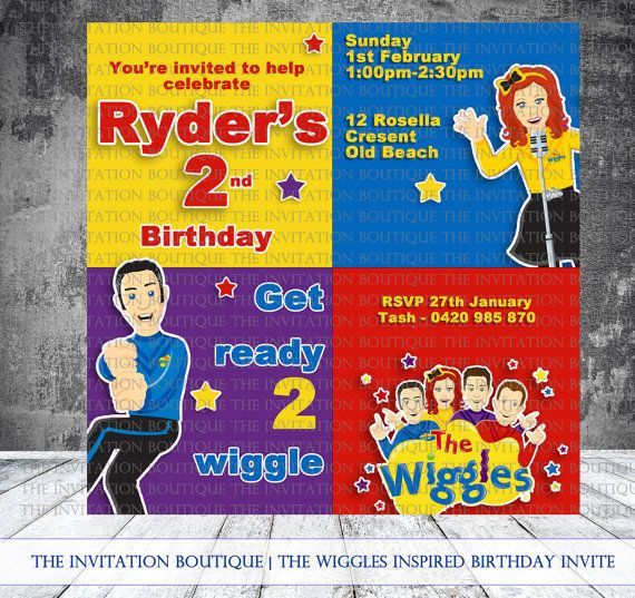 The Wiggles Inspired Printable Invitation by TheInvitationBoutiqu, $12.00