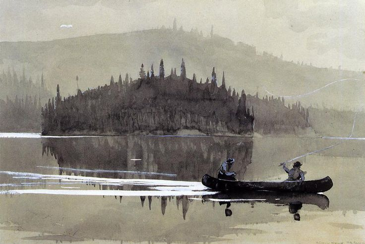 Winslow Homer(American, 1836-1910)  Two Men in a Canoe      1895  Watercolor
