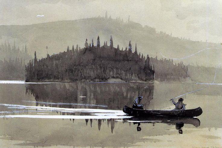 Winslow Homer(American, 1836-1910)    Two Men in a Canoe  1895