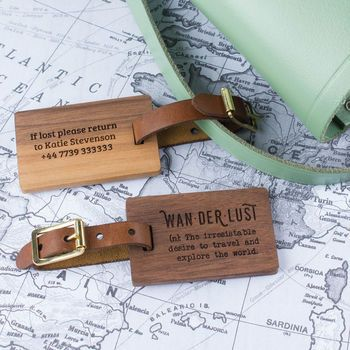 Personalised Wood Luggage Tag Wanderlust. Made from walnut and leather. Made in Britain