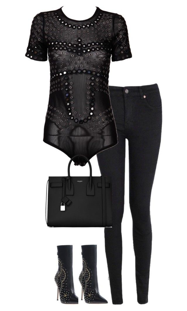 """""""Untitled #2943"""" by officialnat on Polyvore featuring Dsquared2, Boohoo, Christopher Kane and Yves Saint Laurent"""