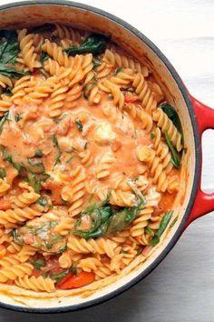 one pot pasta pâtes tout en un épinard tomate crème