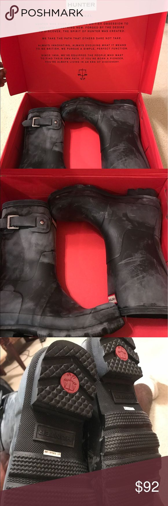 Hunter Short Rain Boots Wore these maybe 5 times (if that) got for my birthday and didn't like them like I thought I would. Trying to sell. Serious offers. In good condition they have white marks on them from the rain but can be easily cleaned with solution from hunter. Hunter Boots Shoes Rain & Snow Boots