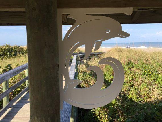 LARGE DOLPHIN Decorative Corner Bracket for Coastal, Tropical, Mailbox, Entry