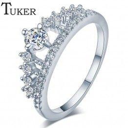 TUKER Fashion Crystal Rhinestone Crown Women's Engagement Ring