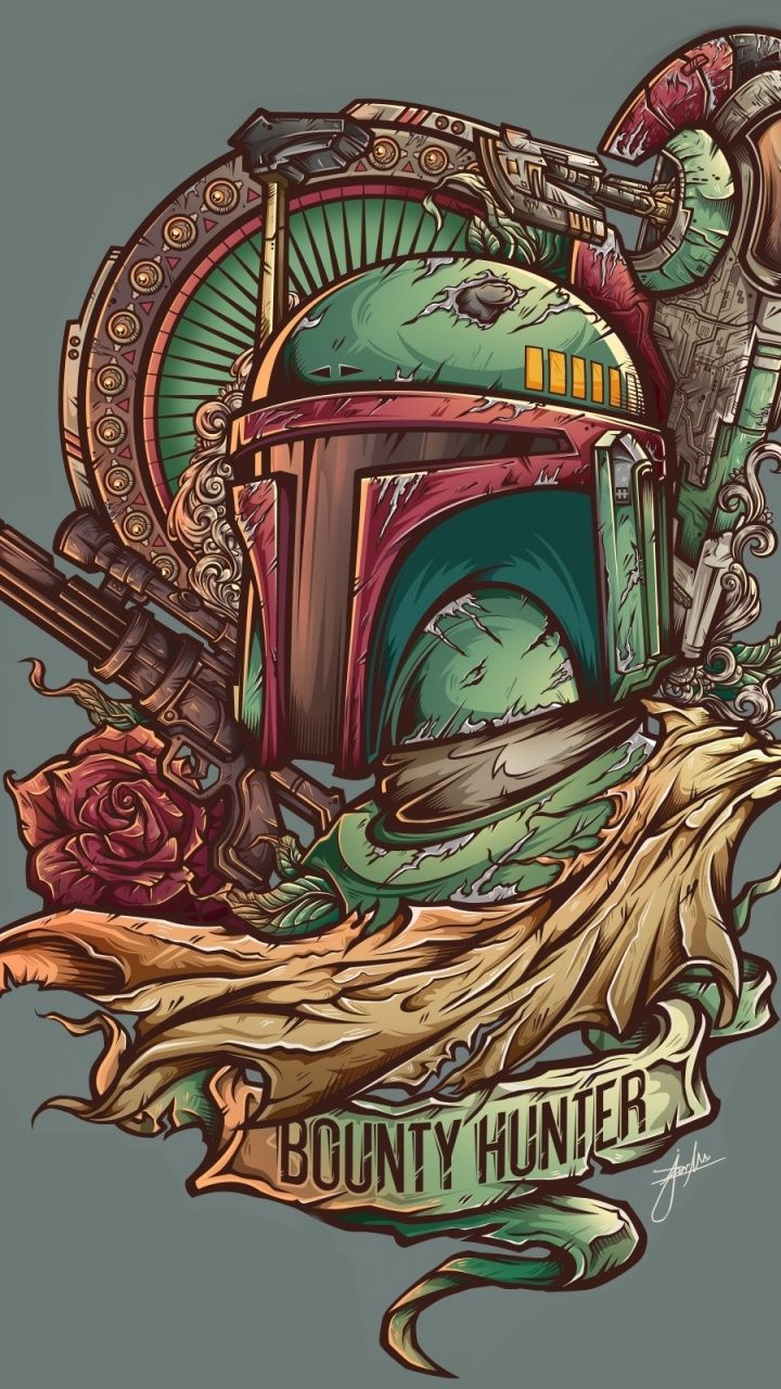 720x1280 Wallpaper Boba Fett Bounty Hunter Minimal Star Wars Art