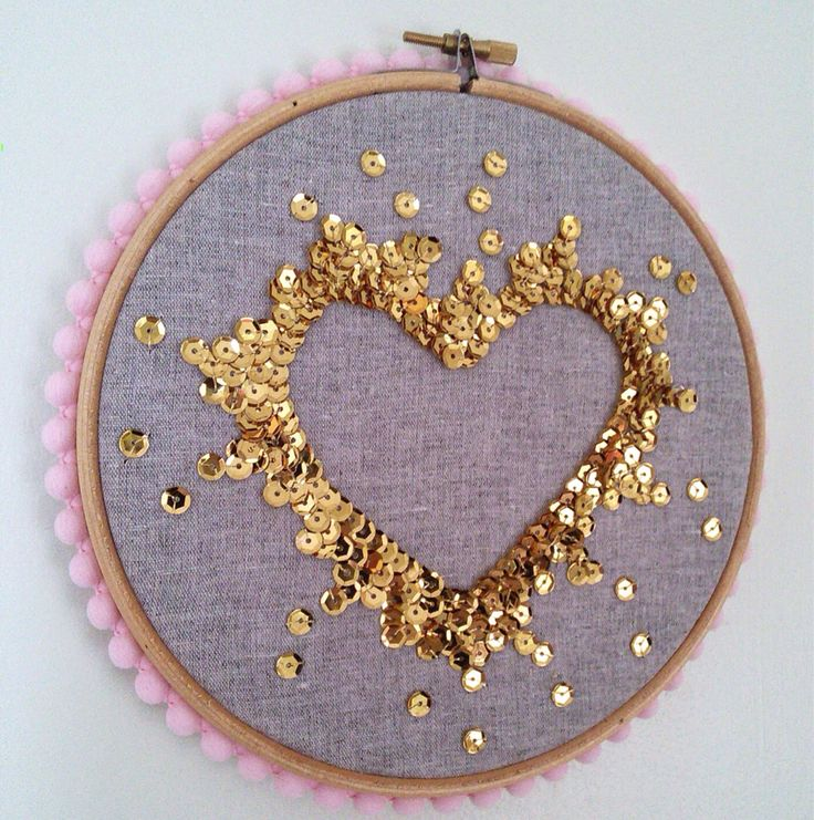 Sequin art embroidery hoop by CraftyKatDesigns on Etsy