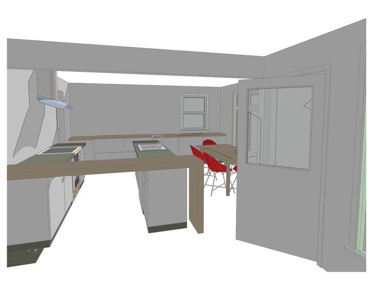 Massing Study 1. At most this scheme would require to change the small window. Refrigeration all undercabinet to maximize counter space and increase sense of spaciousness. Upper cabinets could line both walls if you keep range and add hood at center. Avoiding the pantry wall and putting everything below the waist is on one level a nod to Active Design principles see link. Why not bring active design into the home with plenty of opportunities for leg-strengthening  squats?
