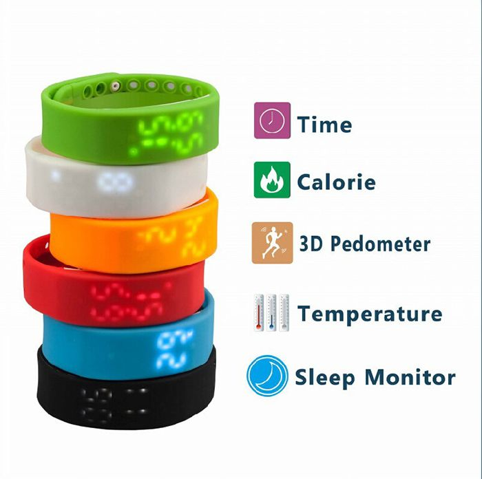3D Smart Pedometer Sport Bracelet Watch Step Walking Distance Calorie Counter Activity Tracker