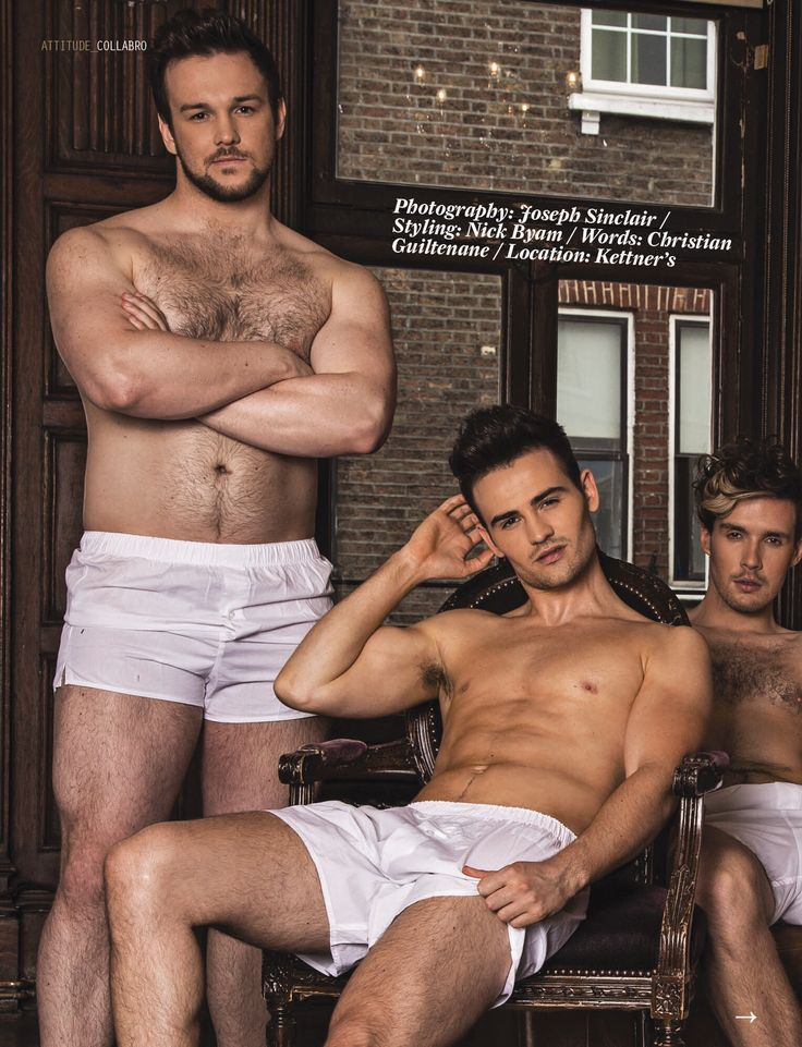 Richard Hadfield, Michael Auger and Jamie Lambert (left to right) of Collabro, Britain's Got Talent 2014 winners, for Attitude magazine