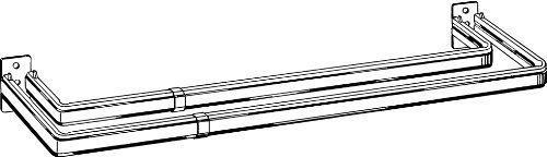 """28"""" - 48"""" Wide - Adjustable Double Curtain Rods - 2"""" Clearance by Kenney. $7.99. Adjusts from 28"""" - 48"""". Double Curtain Rods Use this curtain rod for layered curtain treatments or valance and curtain panel arrangements 1"""" widths for use with 1""""-2"""" rod pockets """"No tear"""" threader prevents snagging the sheerest fabrics White finish Includes necessary curtain rod brackets, supports, & hardware Made in the USA Add Extenders for wider window sections: 29"""" section Adds up ..."""