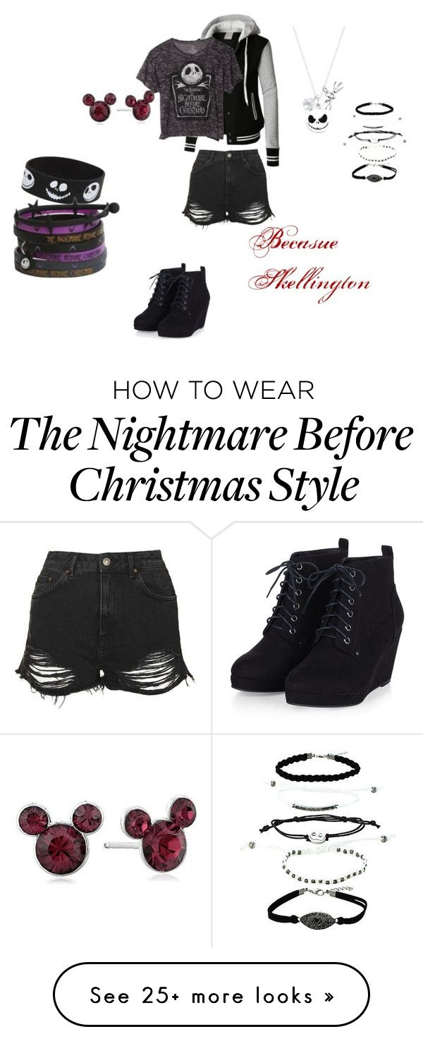 """""""Because Skellington"""" by flamingphoenix on Polyvore featuring Disney, LE3NO and Topshop"""