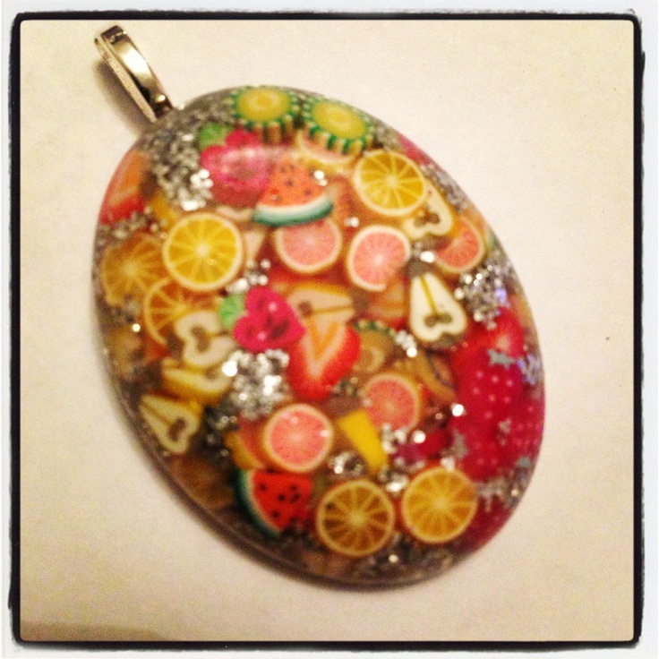 Fruit fusion oval resin pendant!  Handmade   What do you think?  Www.facebook.com/sbeadedbeauties  Www.etsy.com/shops/sbeadedbeauties