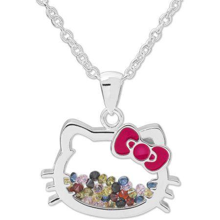 Hello Kitty Fine Silver Tone Crystal Shaker Pendant With Chain KittyPendant NecklaceSanrioBirthday GiftsWalmartBirthday