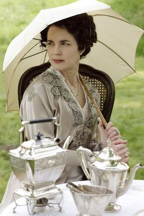 Downton Abbey - having tea with The Honourable Cora Crawley, Countess of Grantham, on the beautiful lawns of the estate