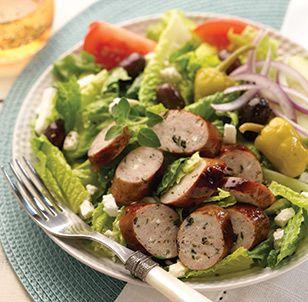 Greek Salad With Al Fresco Spinach And Feta Chicken Sausage?url=http://www.alfrescoallnatural.com/recipes/recipe?id=505=greeksaladwithalfrescospinachfetachickensausage
