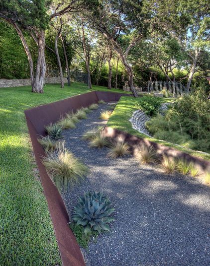 Corten steel in landscape contemporary landscape by D-CRAIN Design and Construction