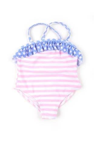 Traje de baño entero para bebe niña, con diseño de rayitas rosadas y blancas.