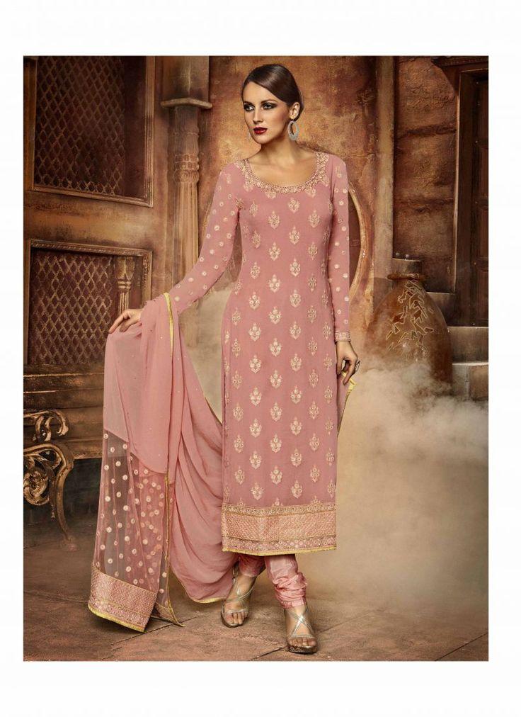 Fancy Designer Anarkali Collection Dark Salmon Colored Salwar Suit
