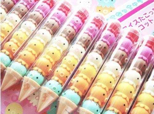 (3) kawaii erasers   kawaii school   Pinterest