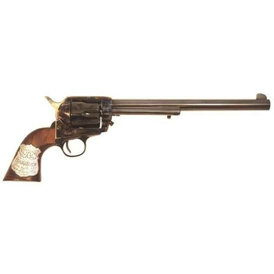 Replica of Wyatt Earp's revolver used in the movie Tombstone. .45 Long Colt, 10-inch barrel, case-hardened finish with one-piece walnut grip with hand-cast solid sterling silver inlay
