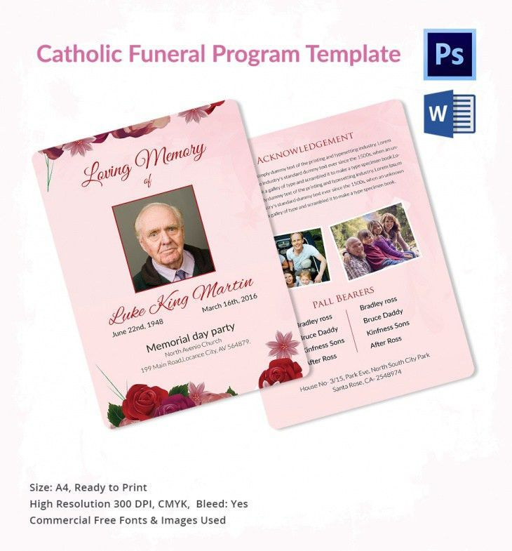 5 Catholic Funeral Template Free Word Pdf Psd Documents   Catholic Funeral  Program  Funeral Pamphlet Template Free