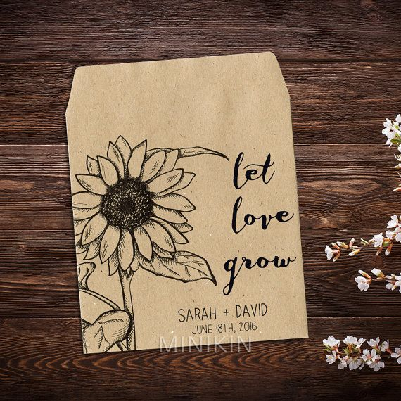 Sunflower Seed Packets Personalized Favors Custom by MinikinGifts