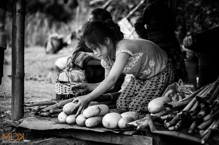 young bamboo shoot seller in Xaysomboun province, Lao PDR