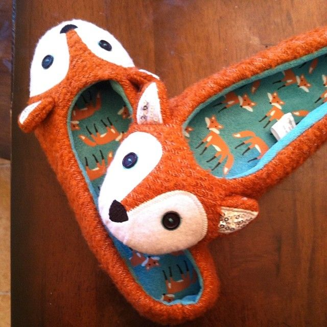sparkly fox slippers? Yes, please!