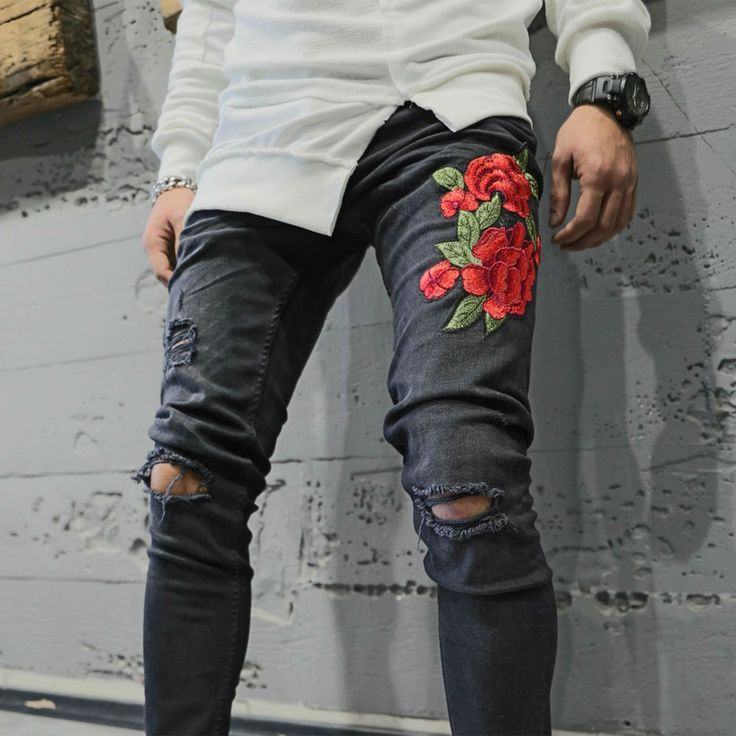 Mens Jeans Rose Print Embroidery Slim Fit Knee Ripped Denim Pants NO TAX US $59.99