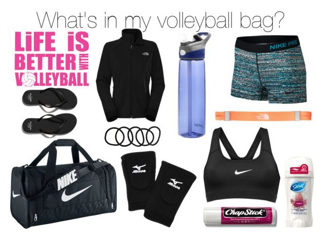 """""""What's in my volleyball bag?"""" by olivia5353 ❤ liked on Polyvore featuring NIKE, Chapstick, Mizuno, The North Face, Wet Seal and Abercrombie & Fitch"""