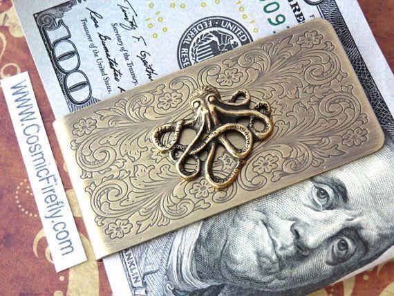 Brass Octopus Money Clip Steampunk Money Clip by CosmicFirefly, $45.00