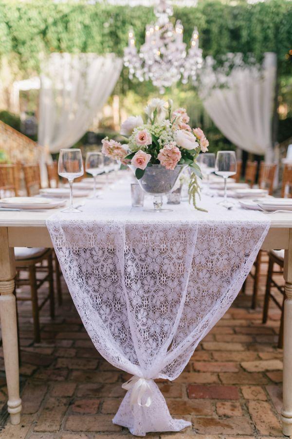 vintage lace wedding table runner / http://www.deerpearlflowers.com/vintage-wedding-ideas-for-spring-summer-weddings/