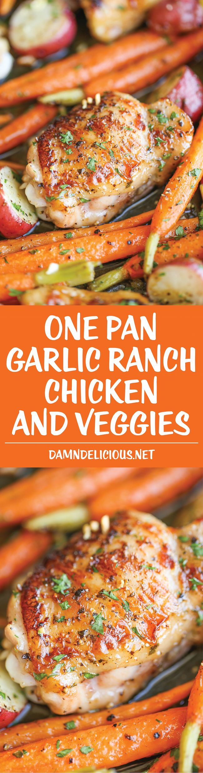 One Pan Garlic Ranch Chicken and Veggies: crisp-tender chicken baked to absolute perfection with roasted carrots and potatoes - all cooked in a single pan.