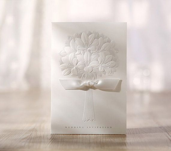 25 x White Lily Bouquet Wedding Invitation. by PaperBoundLove