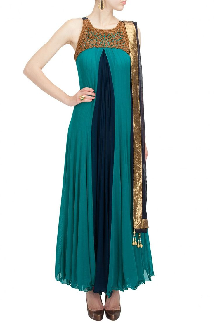 Aqua and blue bias cut anarkali Website : http://www.bhartistailors.com/ Email : arvin@bhartistailors.com