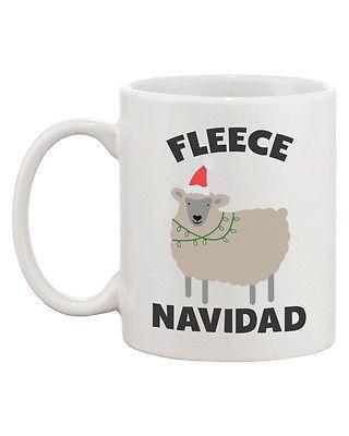 Funny Christmas Ceramic Coffee Mug - Fleece Navidad Cute X-mas Mug (JMC014)