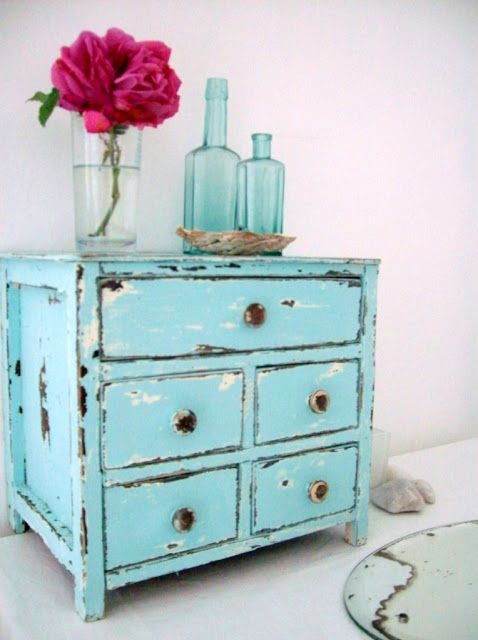 Beautiful Distressed Turquoise Furniture | Turquoise Distressed Jewellery Box. Painted  ...