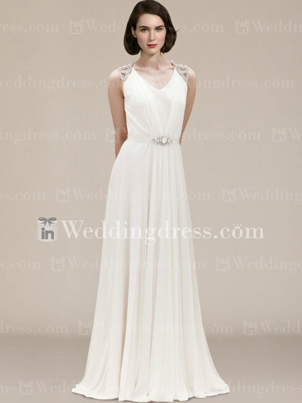 Chiffon+V-Neck+Wedding+Gown+with+Full+Back+BC198N